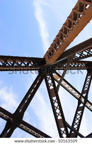 Metal abstracts of various bridges and ladders