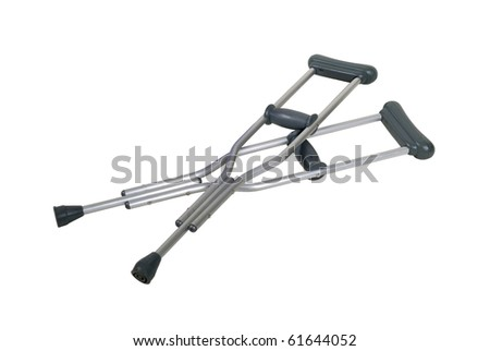 Metal adjustable crutches to assist when walking short distances - Path included