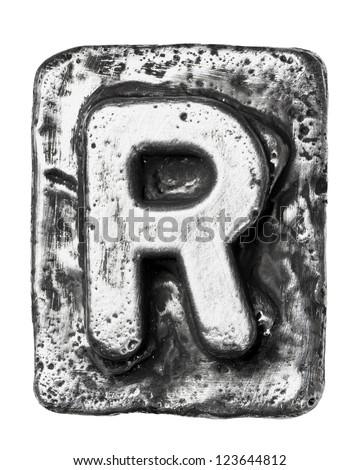 Metal alloy alphabet letter R - stock photo