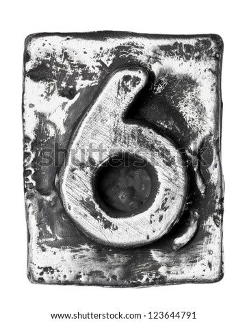 Metal alloy alphabet number 6