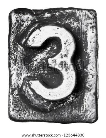 Metal alloy alphabet number 3