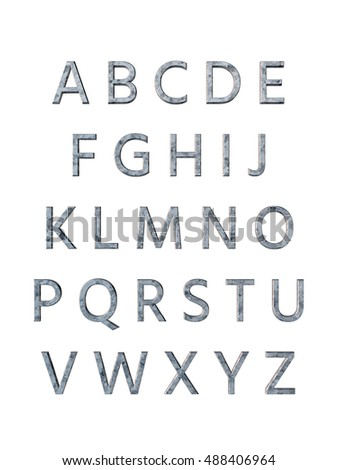 Metal alphabet. 3D rendering