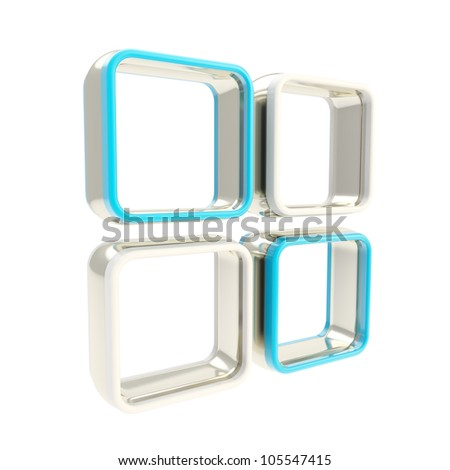 Metal and blue showcase glossy copyspace shelf isolated on white
