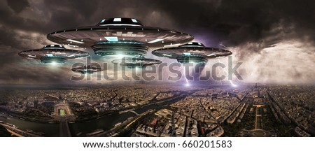 Metal and silver UFO invasionover planet earth city 3D rendering