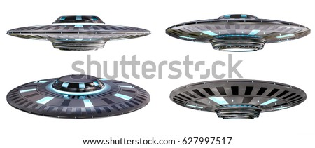 Metal and silver vintage UFO collection isolated on white background 3D rendering