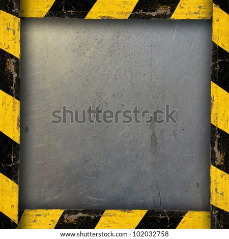 Metal Background With Belt Warning. Plate with safety straps.