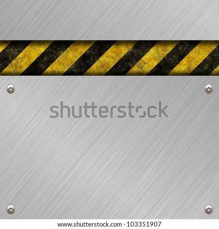 metal background with warning sign