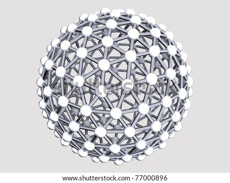 Metal bacterium as a sphere of spheres and cylinders on a gray background