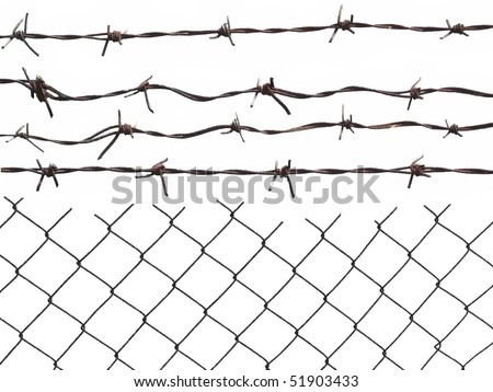 Metal barbed wire fence protection isolated on white for background texture