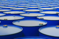 metal barrels of blue color