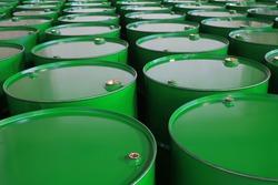 metal barrels of green color