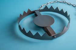 Metal bear trap. Business concept idea. Situations, risk setting.