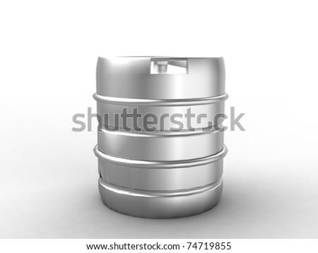 Metal beer keg isolated on white