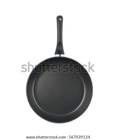 Shutterstock Metal black frying pan with a non-stick coating, composition isolated over the white background