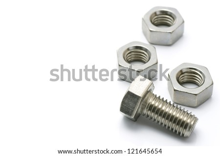 metal bolt and nut on white background