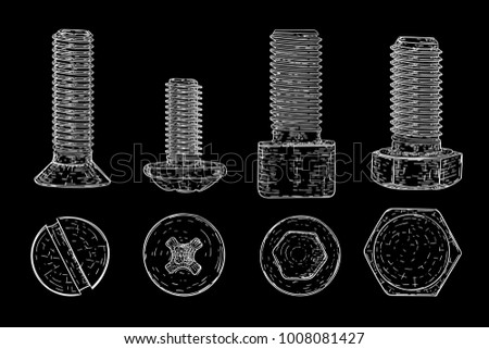 Metal bolts and screws. Hand drawn sketch on black background. Illustration. Raster version