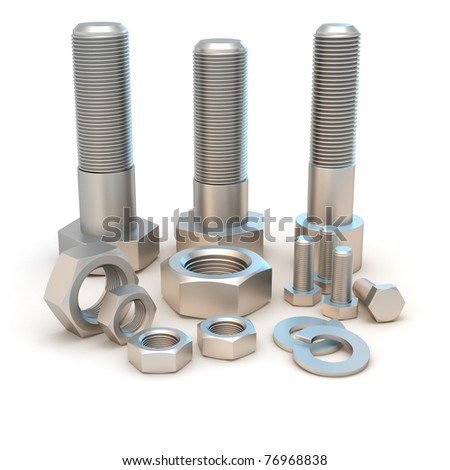Metal bolts and screws isolated