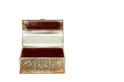 Metal box. Open casket with red velvet inside. elegant metal box for jewelry