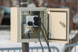 metal box to connect electrical equipment on the street during mass events