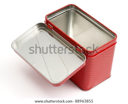 Metal box with lid isolated on white