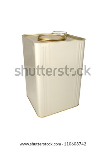 Metal box without label on a white background