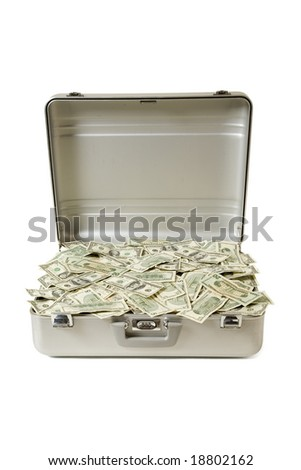 Metal briefcase full of mixed bills in United States Currency, isolated on a white background - stock photo