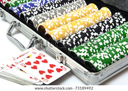 metal briefcase with fisches for the game of poker