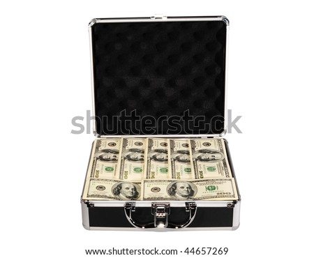 Metal Briefcase With One Hundred Dollar Bills On White Background