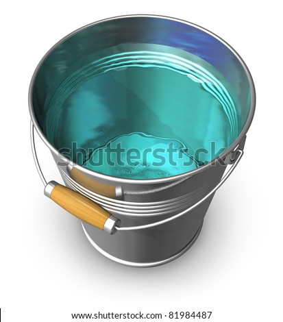 Metal bucket full of clear water isolated on white background