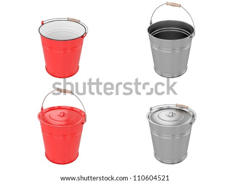 Metal bucket isolated on white background. 3D image