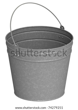 Metal bucket on a white background