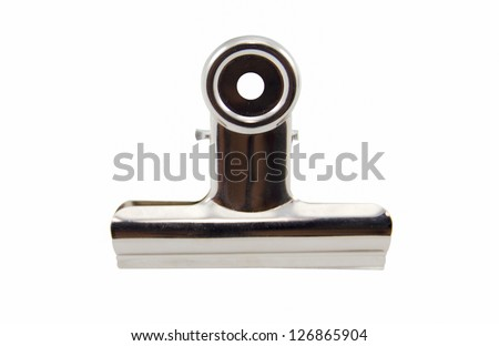 Metal bulldog clip isolate on white