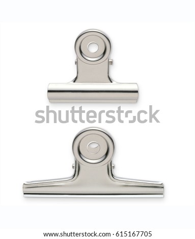 Metal bulldog clips isolated on white background with clipping mask.