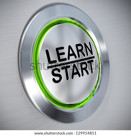 Metal button where it is written learn and start. Green light, concept of e-learning or training - stock photo