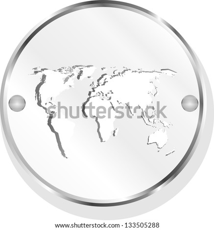 metal button with world map, raster
