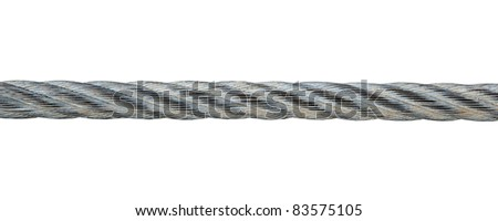 Metal cable isolated on white background - stock photo