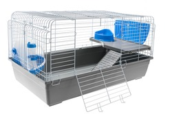 metal cage for rodents or birds on a white background