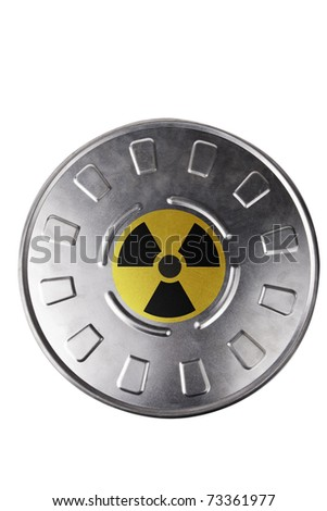 Metal can marked with radioactive sign isolated on white