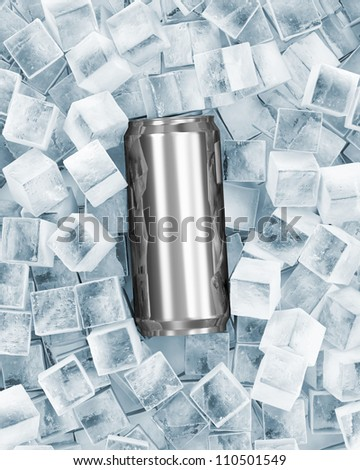 Metal Can of Beer in Ice Cubes
