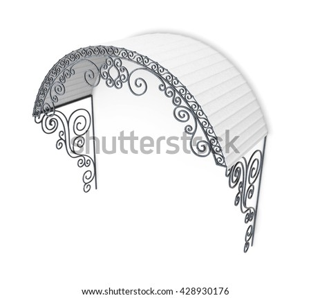 Metal canopy with ornament isolated on white background. 3d render image.