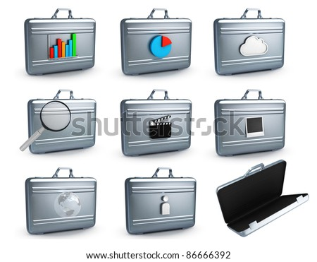Metal cases on white background