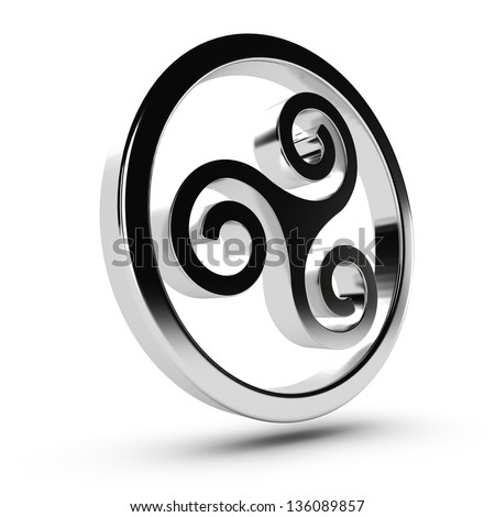 Metal Celtic triskelion in 3D over white background