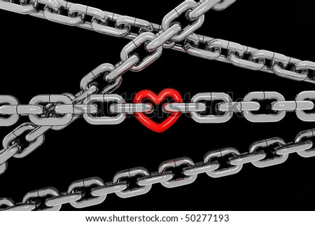 metal chain with a red metal heart on black background