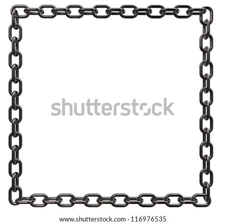 metal chains frame border on white background - 3d illustration