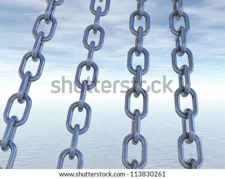 metal chains in front of cloudy sky - 3d illustration