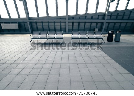 Metal Chairs in Waiting area on station