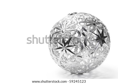 metal christmas ball on white background