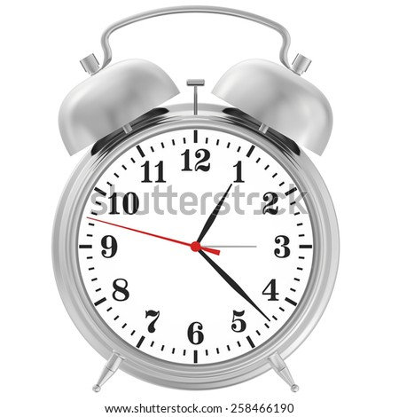 metal chrome alarm clock isolated on white background. 3d render