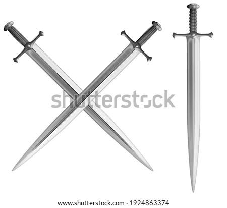 Metal classical crossed swords set 3d illustration Foto stock ©