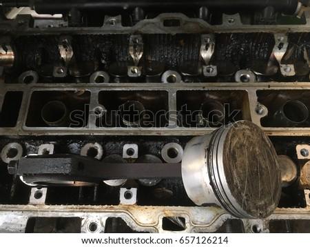 Metal Closeup pistons automobile part of engine car. #657126214